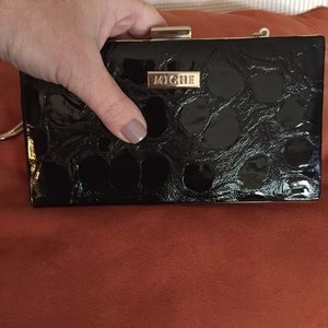 Miche black embossed patent croc clutch bag